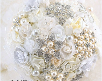 Brooch Bouquet, White, Silver, Cream, Ivory, Vintage Wedding, Bridal, Wedding, Jeweled, Lace Bouquet, Pearls, Crystals, Gatsby