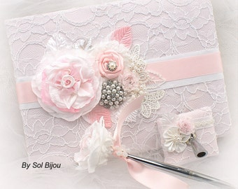 Guest Book, White, Pink, Elegant Wedding, Vintage Style, Gatsby, Birthday, Anniversary, Signature Book, Signing Pen, Brooch,Crystals, Pearls