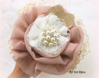 Toss Brooch Bouquet, Ivory, Dusty Rose, Tan, Beige, Champagne,  Maid of Honor, Flower Girl Bouquet, Lace, Burlap, Pearls, Elegant, Vintage