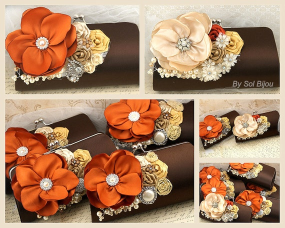 Bridesmaids Clutches, Burnt Orange, Brown, Champagne, Gold, Ivory, Handbags, Purses, Fall Wedding, Mother of the Bride, Pearls, Crystals