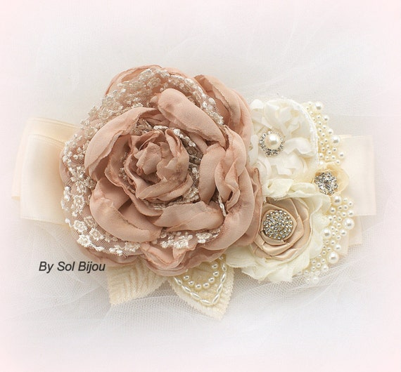 Wedding Sash, Blush, Tan, Beige, Champagne, Ivory, Bridal, Maid of Honor, Cream, Handmade Flowers, Pearls, Crystals, Lace, Satin, Vintage