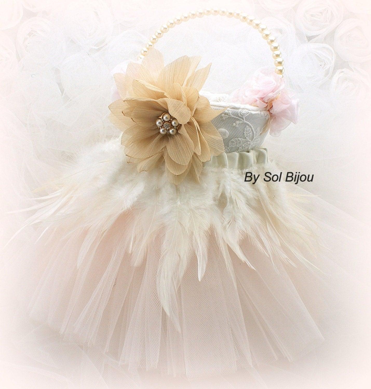 Flower Girl Basket Blush : Flower girl basket ivory blush pink gold vintage wedding