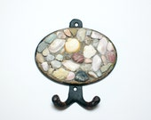metal wall hook handmade mosaic with Mediterranean  pebbles ( 5,12 in x 5,51 in ) - summer sea