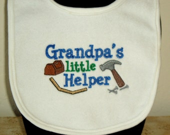 Gift for baby. Grandma and Grandpa. Embroidery. Infant Baby Embroidered  Baby Bib- Grandpa's little helper. Tool chest. hammer. Ruler KBD322