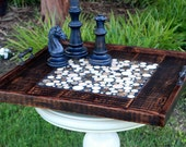 "Extra Large Serving Tray, Marble Tile Centerpiece, ""Chocolate Eclipse"", Reclaimed Wood, Dark Brown Finish, 30 x 30 - Handmade"