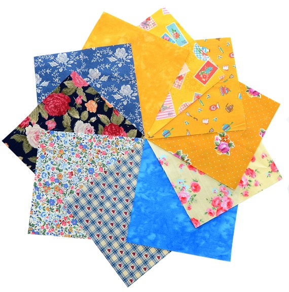 Quilting fabric 40 charm pack 5x5 squares Yellow & Blue