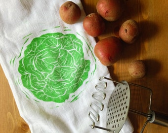 "wood block print ""c is for cabbage"" tea towel by color.joy"