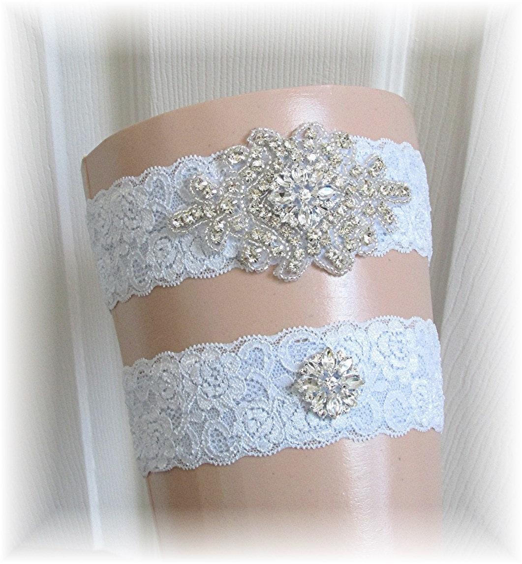 Blue Wedding Garter Set Bridal Garter Set Keepsake Garter