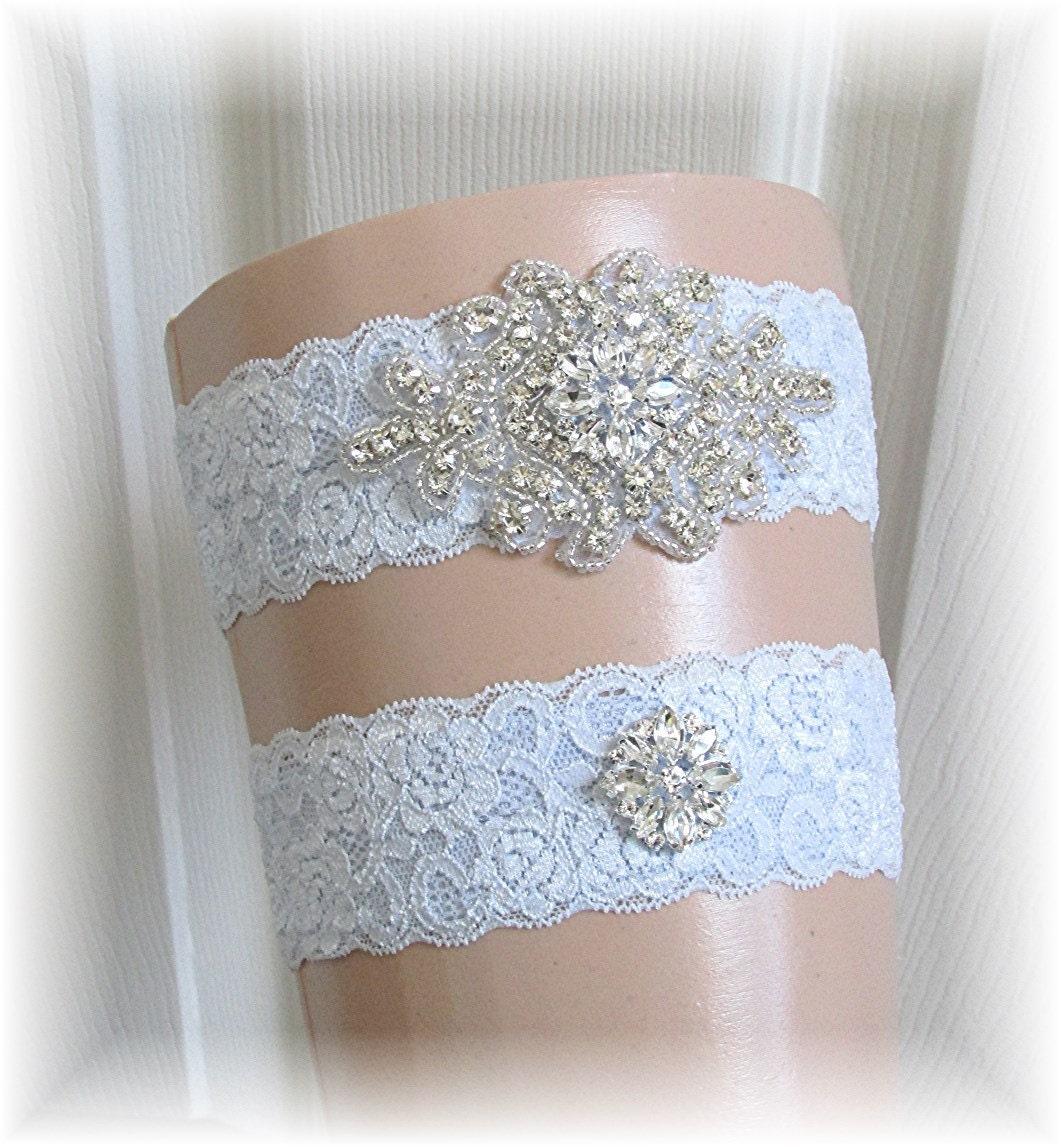 Personalized Wedding Garter Sets: Blue Wedding Garter Set Bridal Garter Set Keepsake Garter