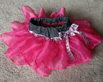 Baby Denim Tutu// Black Denim with Hot Pink Tutu