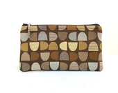 Chocolate Brown Truffle Clutch / Zippered Bag with Beaded Pull - READY TO SHIP