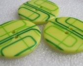 Large Lemon Lime Geometric Buttons Design Large Size