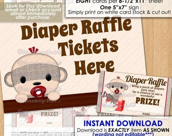 Boy Sock Monkey Baby Shower Diaper Raffle Tickets / boys monkeys sockmonkey sockmonkeys ticket card cards diy pdf #0074a / INSTANT DOWNLOAD