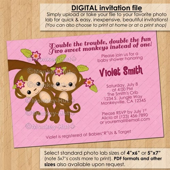 TWIN Girl Monkey Baby Shower Invitations / Twins By Monkeyhut