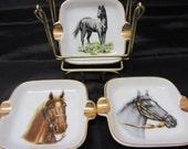 Vintage Horse Ashtrays, Set of 3, Porcelain, With Caddy. Sonsco Japan