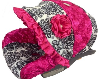 Damask Black White with Stunning Roses Infant Baby Car Seat Cover includes neck strap covers