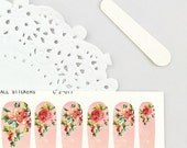 Haute High Tea Nail Wraps - Rusty Red Roses / Light Coral Background