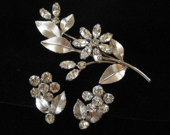 Krementz White Gold Overlay Pin and Earring Demi Parure
