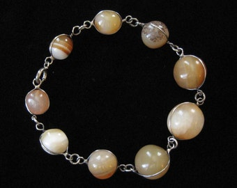 1920's Sterling Silver Caged Agate Bracelet, Pools of Light Construction