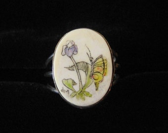 Sterling Silver Ring, Etched Bone Scrimshaw Butterfly Size 7
