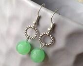 Galina - Silver and Celadon Green Glass Dangle Hoop Earrings