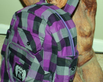 Hand Crafted By Maggie Made from Purple Shirt Backpack Book Bag-Upcycled.Great  Sale