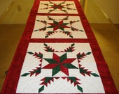 Quilted Feathered Star with LeMoyne Star center Table Runner or Wall Hanging
