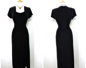 Vintage Black Velvet Dress Great Gatsby Long Evening Cocktail Party Prom dress M/L