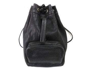 Vintage  Backpack Black Leather Drawstring Bucket by Nordstrom Large