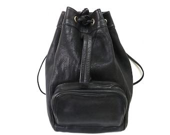 Vintage Black Leather Drawstring Bucket Backpack