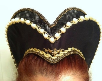 Renaissance, Tudor, Elizabethan, Attifet, Headdress, Double Row - MADE TO ORDER