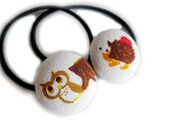 Button Ponytail Holders - Owl and Hedgehog