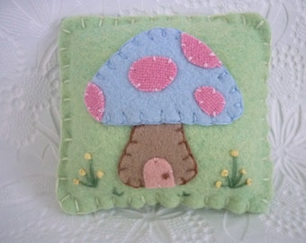 Wool Felt Pincushion Mushroom Cottage Fairy Toadstool
