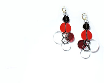 Reclaimed Acrylic Chandelier Earring Red 1/3 Circle Statement Eco Jewelry Sustainable Fashion Repurposed Reuse Upcycled Material