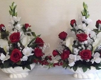Apple Red Roses and Calla Lily Silk Flower Floral Arrangement / Centerpiece