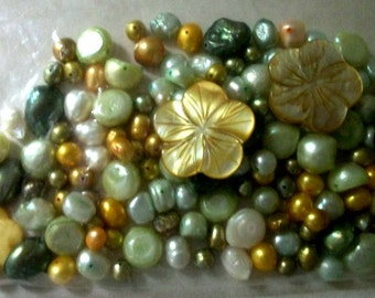 Liquidation  Sale FW  Pearls bead mix  many shades of Green + MOP carved flowers