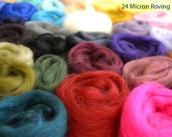 24 Micron Wool Roving - 52 colours - 520 grams (18.34oz)