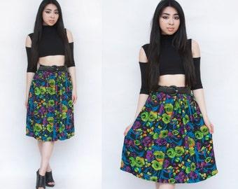 SALE 1990s Neon Grunge Pleated Midi High Waist Skirt M L
