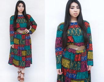 1990s Multicolor Patchwork Long Sleeve Midi Dress L XL Petite