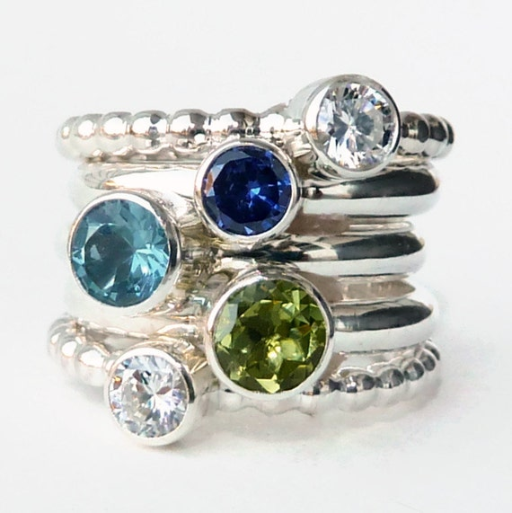 Mothers Ring -  5 Birthstone Stacking Rings - Family Ring - Faceted Gemstone - Stackable Rings - Birthstone Rings - Sterling Silver