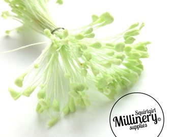 100 Double Sided Vintage French Flower Stamens - Mint Green