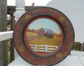 Brown Resin Charger with Hand Painted Red Barn