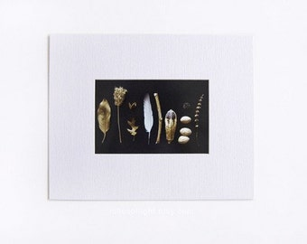 Print and Mat BROWN & GOLD N1 - 4x6 with mat Ready to frame