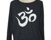 Long sleeve yoga OHM SYMBOL raglan womens pullover American Apparel (sm med lg ) skip n whistle