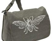 Vintage Bee -- Canvas messenger bag -- large field bag -- adjustable strap