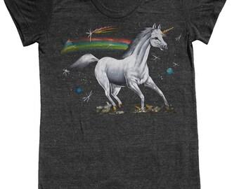 Unicorn t shirt -- womens style #1 -- S M L XL skip n whistle