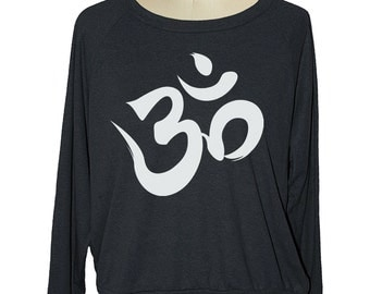 Long sleeve yoga OHM SYMBOL raglan womens pullover American Apparel (sm med lg ) skip n whistle