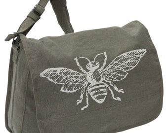 Vintage Bee -- Canvas messenger bag -- large field bag -- adjustable strap