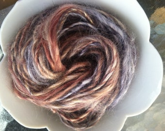 Agate Bamboo Handspun Yarn - 40 yards grey brown tan