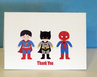 Superhero Thank You Cards Superhero Party Personalized